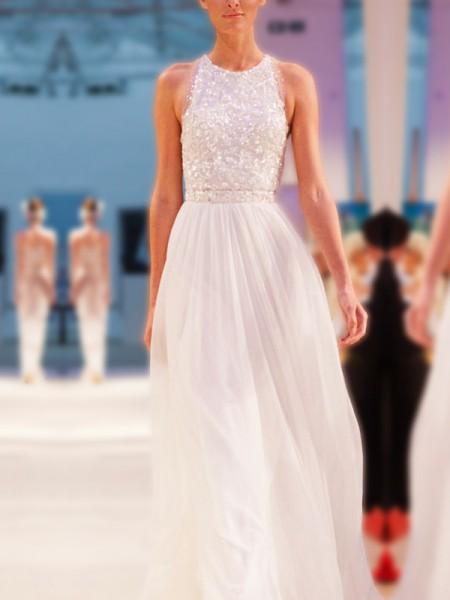 A-Line/Principessa Scollatura gioiello Senza maniche A terra Perline Chiffona Abiti da Sposa