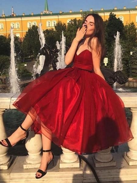 A-Line/Principessa Del del-organza Increspature A cuore Senza maniche Lunghezza Tè Abiti da festa