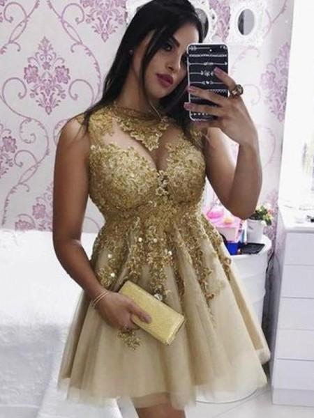 A-Line/Principessa Tyll Applique Collo Puro Senza maniche Corto/Mini Abiti da festa