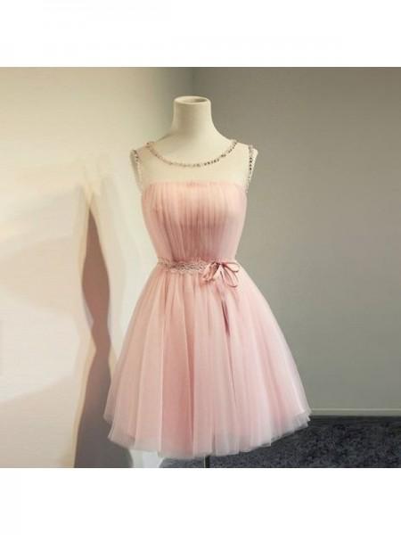 A-Line/Principessa Tyll Perline Tondo Senza maniche Corto/Mini Abiti da festa