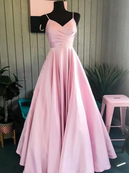 A-Line/Princess Satin Ruched Spaghetti Straps Ceremony Dresses
