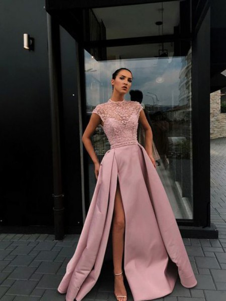 A-Line/Princess Beading Satin Scoop Short Sleeves Long Ceremony Dresses