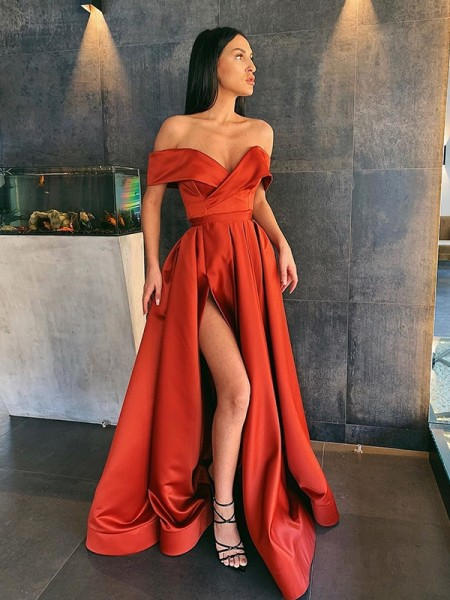 A-Line/Princess Satin Ruffles Off-the-Shoulder Long Ceremony Dresses