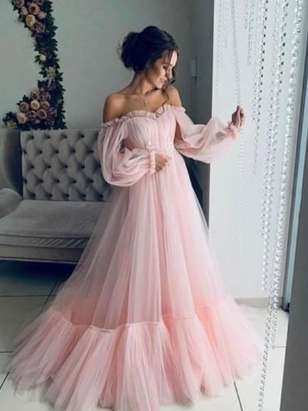 A-Line/Princess Tulle Applique Off-the-Shoulder Long Sleeves Long Ceremony Dresses
