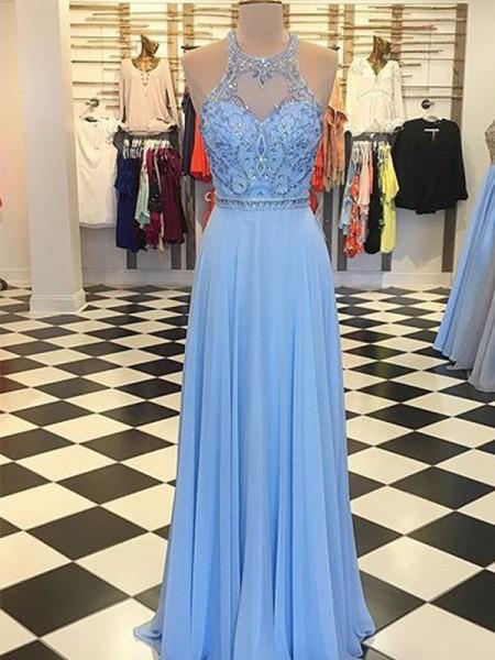 A-Line/Princess Chiffon Beading Halter Ceremony Dresses