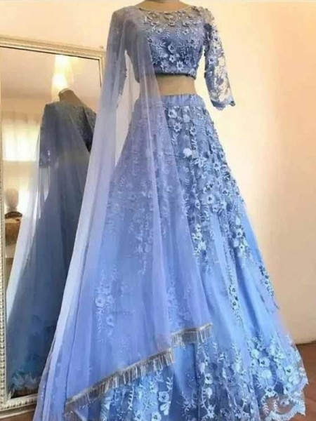 A-Line/Princess Tulle Applique Scoop 3/4 Sleeves Two Piece Ceremony Dresses