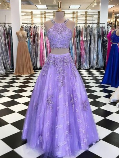 A-Line/Princess Tulle Beading Halter Two Piece Ceremony Dresses