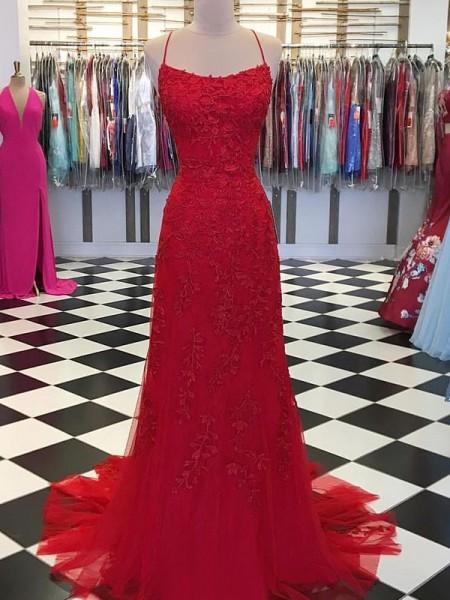 A-Line/Princess Tulle Applique Spaghetti Straps Long Ceremony Dresses