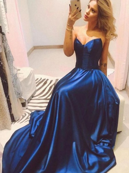 A-Line/Princess Sweetheart Long Satin Ceremony Dresses