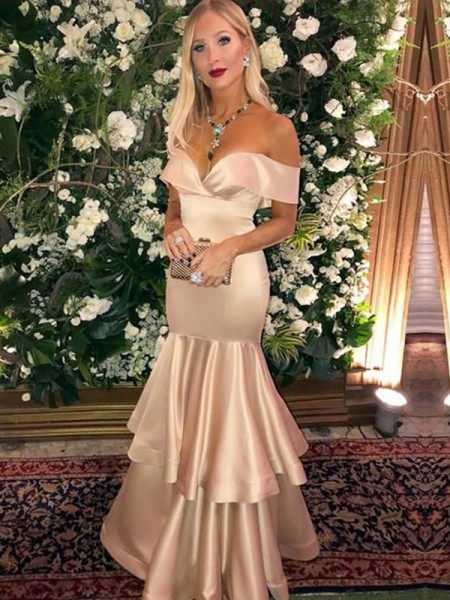 Trumpet/Mermaid Satin Off-the-Shoulder Layers Ceremony Dresses