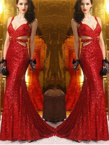 Trumpet/Mermaid Ruffles V-neck Sequins Long Train Ceremony Dresses
