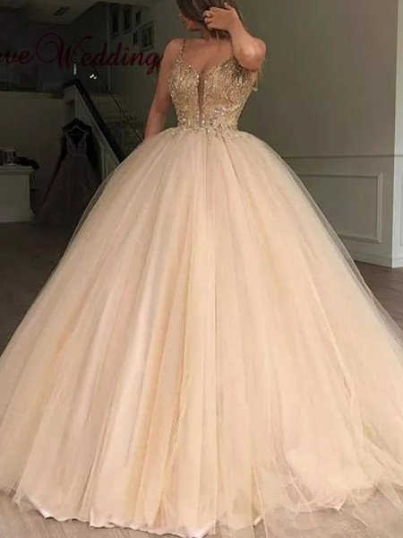 Ball Gown V-neck Tulle Beading Long Ceremony Dresses