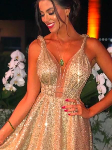 A-Line/Principessa Con lustrini Spalline Perline Senza maniche Sweep/Spazzola treno Dresses
