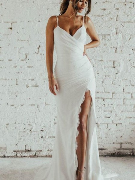 Sheath/Column Spaghetti Straps Ruched Sleeveless Chiffon Sweep/Brush Train Wedding Dresses