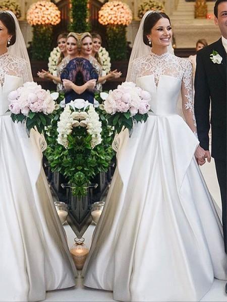 A-Line/Principessa Pizzo Raso Collo alto Lungo Sleeves A terra Abiti da sposa