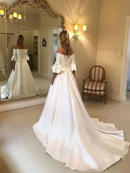 A-Line/Princess Off-the-Shoulder Satin Ruffles 3/4 Sleeves Court Train Wedding Dresses