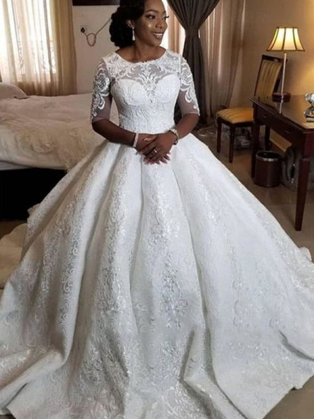 Ball Gown Satin Applique 1/2 Sleeves Sweep/Brush Train Scoop Wedding Dresses