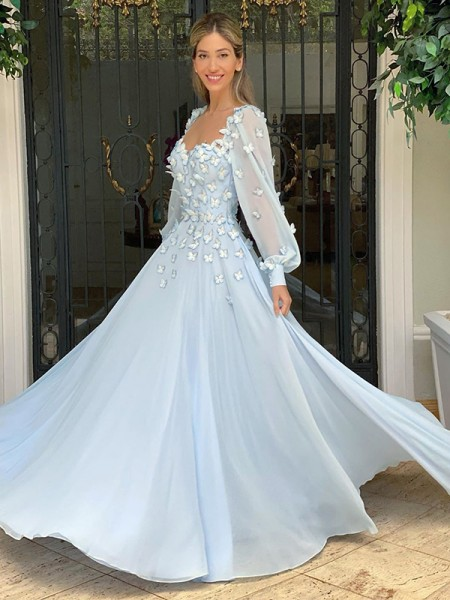 A-Line/Principessa/Princess A cuore Chiffona Lungo Sleeves Applique A terra Abiti
