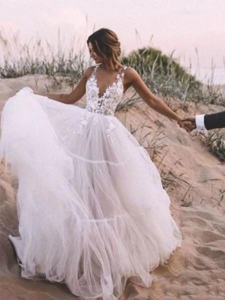 A-Line/Principessa Scollatura a V Senza maniche Tyll Applique A terra Abiti da sposa