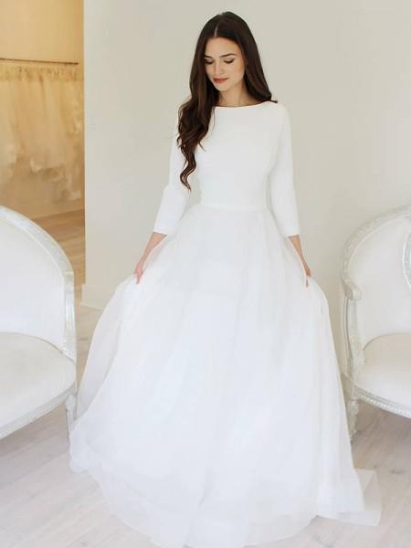 A-Line/Principessa Tyll Increspature Tondo Lungo Scollo a barchettas A terra Abiti da sposa