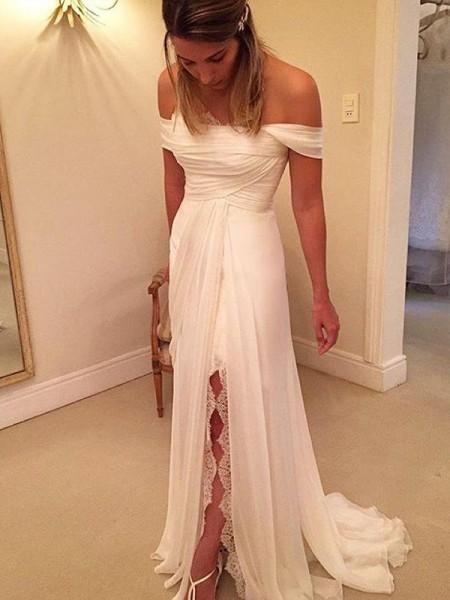 Principessa Strascico Informale Spalle scoperte Senza maniche Increspature Chiffona Abiti da Matrimonio