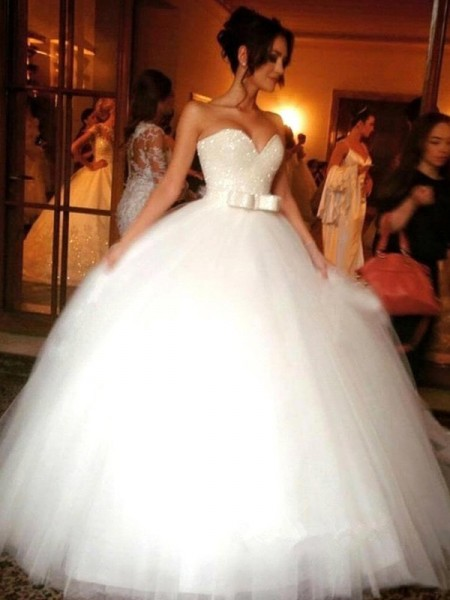Da ballo Fiocco Scollatura a cuore Tyll Senza maniche Al pavimento Abiti da Matrimonio