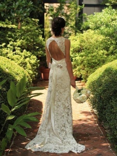 Tubino Senza maniche Pizzo Scollatura a V Strascico Informale Abiti da Matrimonio