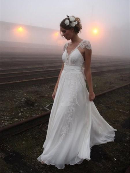 Principessa Scollatura a V Al pavimento Senza maniche Pizzo Chiffona Abiti da Matrimonio