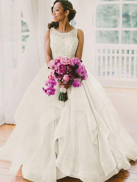 Da ballo Senza maniche Scollatura Tonda Perline Strascico Informale Del organza Abiti da Matrimonio