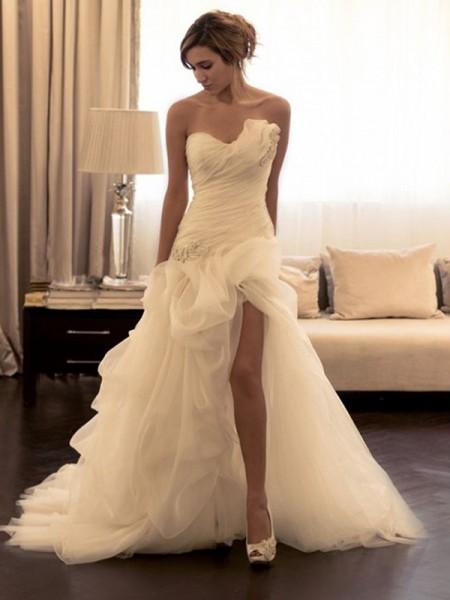 Da ballo Del organza Perline Scollatura a cuore Senza maniche Strascico Informale Abiti da Matrimonio