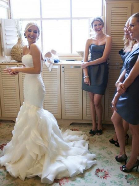 Sirena Senza maniche Strascico Corto Scollatura a cuore Increspature Raso Abiti da Matrimonio