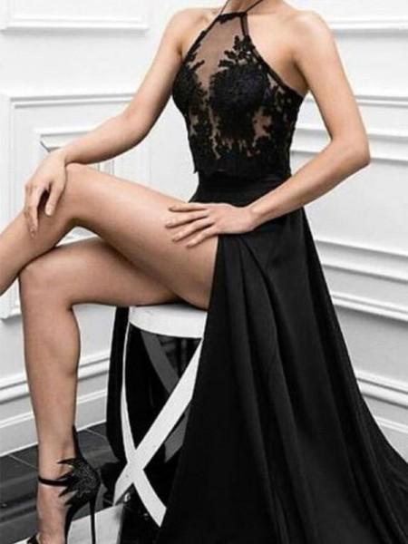 Principessa Scollo ad anello Senza maniche Al pavimento Applique Raso elastico Abiti