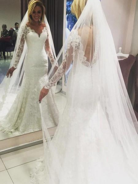 Tubino Scollatura a V Maniche lunghe Strascico Informale Pizzo Abiti da Sposa