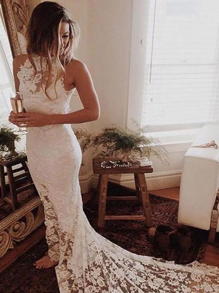 Sirena Scollo ad anello Senza maniche Pizzo Coda Cappella Abiti da Sposa
