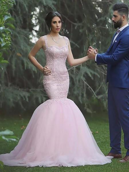Sirena Spalline Senza maniche Tyll Strascico Informale Abiti da Sposa