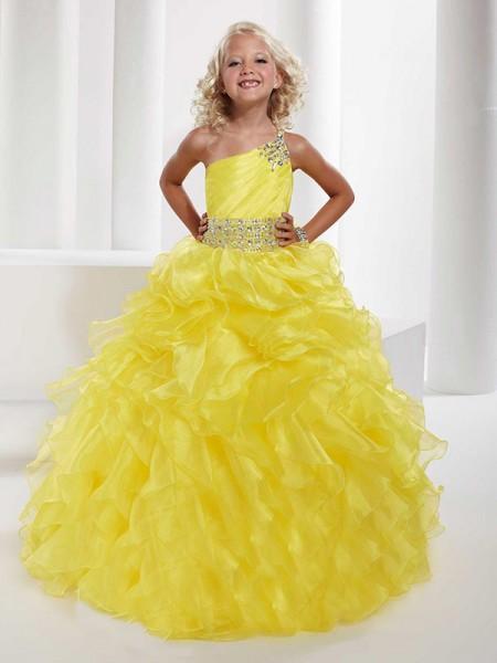 Da ballo Monospalla Senza Maniche Perline Lungo Del Organza Abiti Cerimonia Bambini