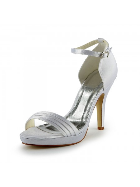 Donna Pretty Raso tacco a spillo Sandals Con Buckle White Scarpe da sposa