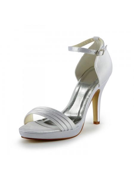 Donna Pretty Raso tacco a spillo Sandals Con Buckle White Scarpe da sposa