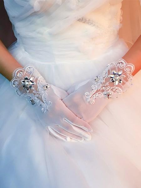 Bellissimo Tyll Con Applique Sposa Guanti
