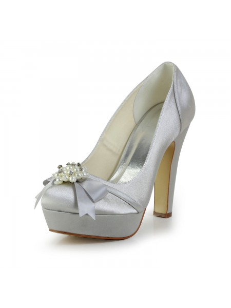 Donna Raso tacco grosso punta chiusa Piattaforme Silver Scarpe da sposa Con Fiocco