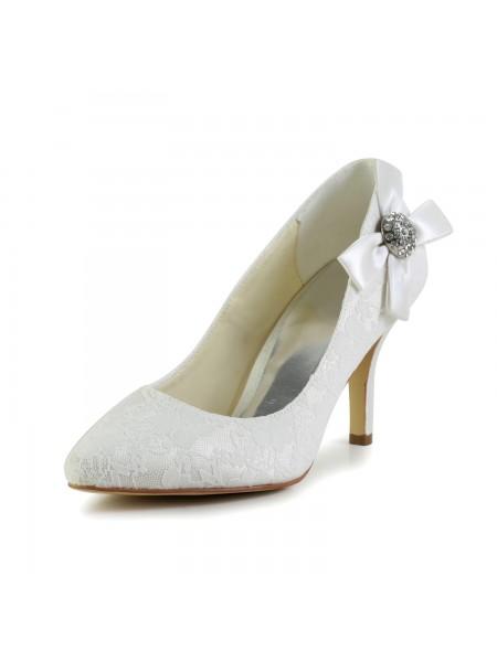 Donna Raso tacco a spillo punta chiusa Pumps bianca Scarpe da sposa Con Strass