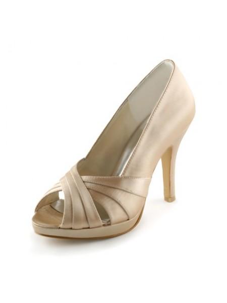 Donna Raso tacco a spillo Peep Toe Piattaforme Sandals Champagne Scarpe da sposa