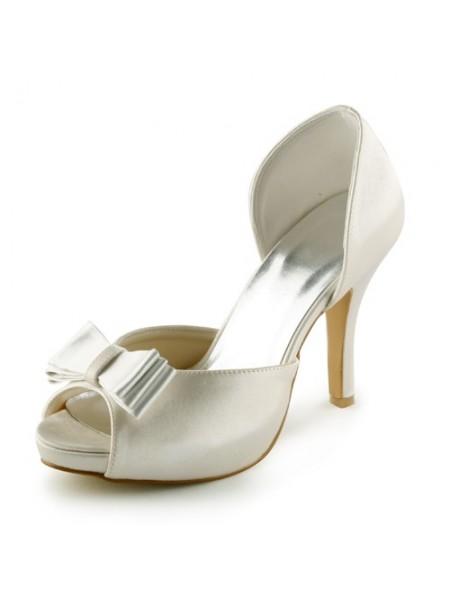 Donna Raso tacco a spillo Peep Toe Piattaforme Sandals Ivory Scarpe da sposa Con Fiocco