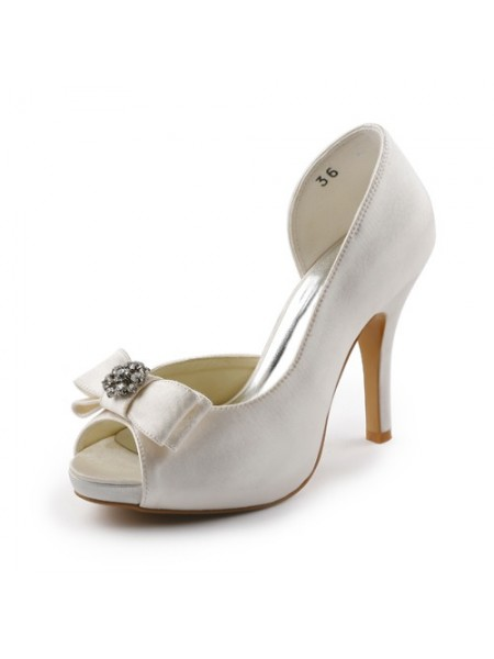 Donna Raso tacco a spillo Peep Toe Piattaforme Ivory Scarpe da sposa Con Fiocco