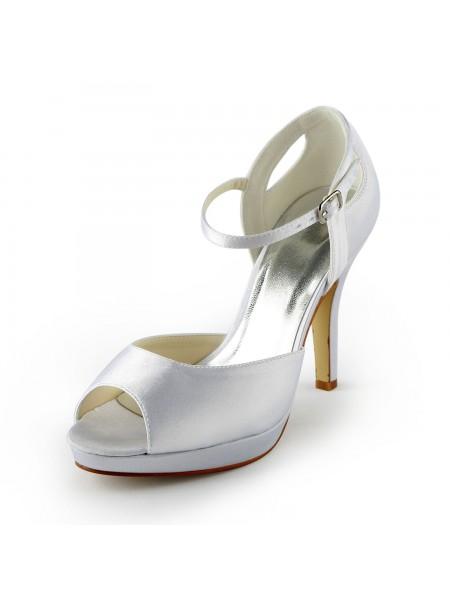 Donna Raso tacco a spillo Peep Toe Piattaforme Sandals White Scarpe da sposa Con Buckle