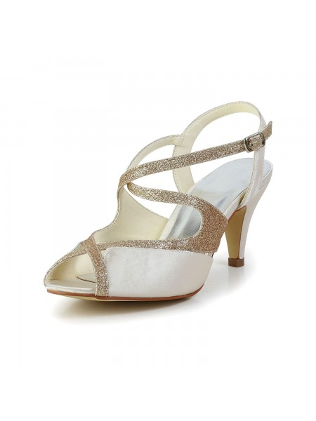 Donna Raso Peep Toe Pumps Sandals Scarpe da ballo Con Strass