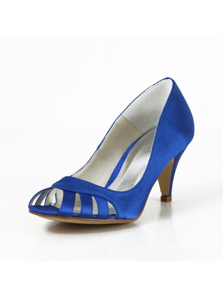Donna Raso tacco a cono Peep Toe Pumps Tacchi alti Con Hollow-out
