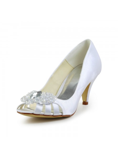 Donna Raso tacco a cono Peep Toe Sandals bianca Scarpe da sposa Con Hollow-out