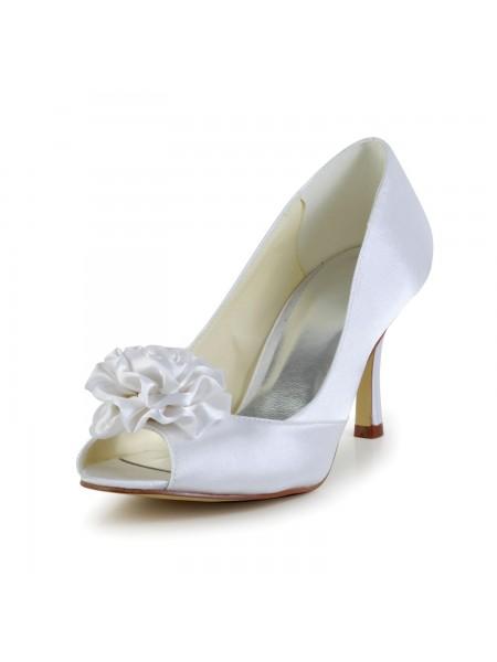 Donna Raso tacco a spillo Peep Toe bianca Scarpe da sposa Con Flower