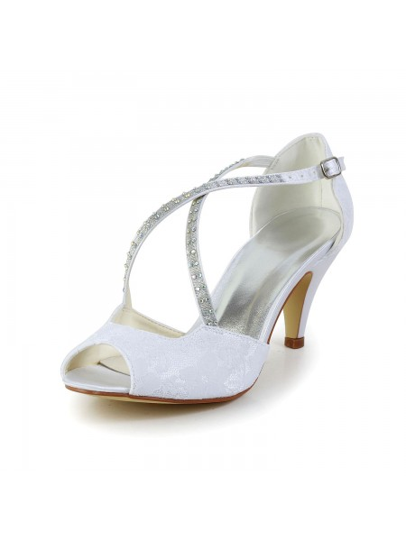 Donna Raso tacco a cono Peep Toe Sandals bianca Scarpe da sposa Con Strass Buckle